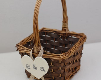 Flower Girl Basket -brown 4*4 with