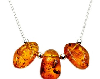Tribal Inspired Honey Baltic Amber & .925 Sterling Silver Necklace, Ab895