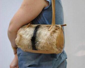 Vintage COCCINELLE leather bag , fur bag ....(065)