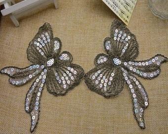 Wholesale LOT  12PCS  butterfly    Sew on lace  Applique Patches 14x14cm