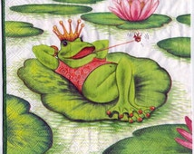Decoupage Napkins | Frog Holiday on a Lilypad  | Paper Napkins for Decoupage