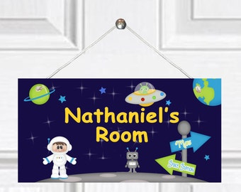 Personalized Child's Door Sign - Outerspace Theme - Blue Sky/Boy Astronaut