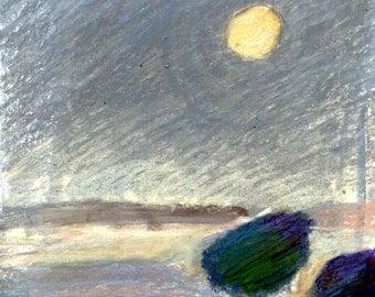 HARVEST MOON - Ripe Fields - Original Drawing - Oil Pastel - ElizabethAFox - Fine Art Drawing