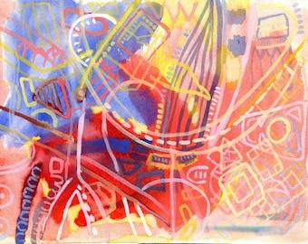 BRITISH MUSEUM - Original Fine Art - Watercolour Painting - Abstract Painting - ElizabethAFox