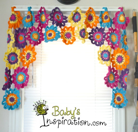 Crochet Flower Window Valance Pattern : Items similar to Flower Crocheted Valance on Etsy