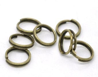 8MM Antiqued Bronze Split  Rings - 50, 100
