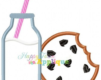 Milk and Cookies Machine Embroidery Design