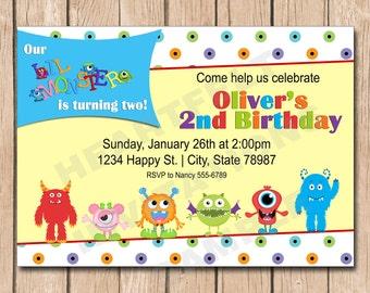 Little Monster Birthday Invitation - 1.00 each printed or 10.00 DIY file