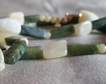 Green Jungle Jasper & Calcite Necklace