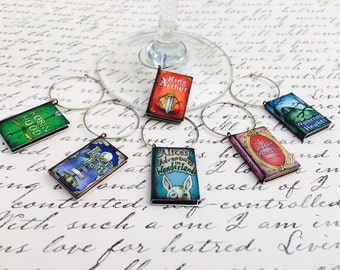 SET of Men & Women's Literary Fairytale Wine Glass Charms, Alice in Wonderland, King Arthur, Robin Hood, Little Women, Peter Pan, Wine Charm