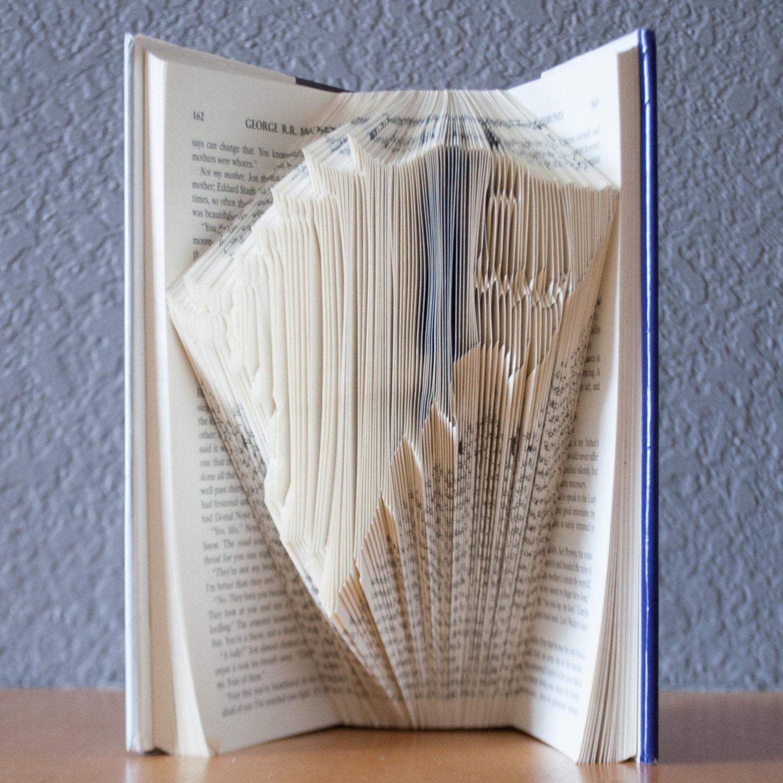 Game Of Thrones House Stark Folded Book Art Direwolf Book Lovers