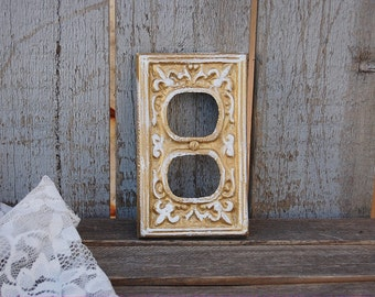 Double Outlet Covers, Shabby Chic, Double Wall Plate, Gold, White, Ornate, Fleur de Lis, Cast Iron