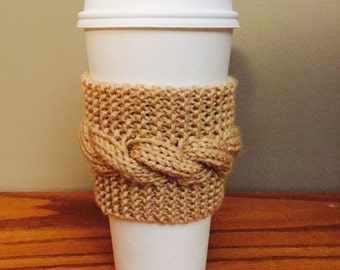 handmade cable knit coffee cozy (in beige)