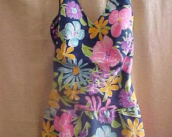 Vintage 1950s Roxanne Print Bathing Suit, Size 14 - 36 bust