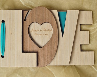 Custom Wedding Guest Book Wood Wedding Rustic guest book Engagement anniversary Wedding gift  Bridal shower Unique guest book Love 3D