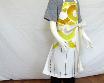 Sunny kid apron - children's apron abstract yellow flower print