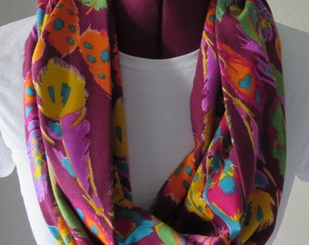 One Jersey Knit  Infinity Scarf Made of Rhododendron Feathers Print. 7W x70L. Accessories. Feathers on Magenta Purple Backround.