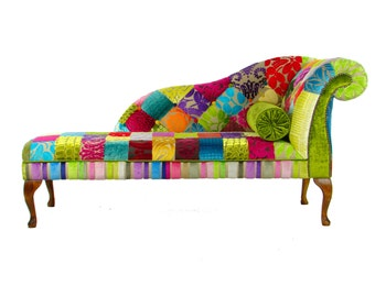 Bespoke patchwork chesterfield 3 seater sofa by justinadesign for Chaise longue patchwork
