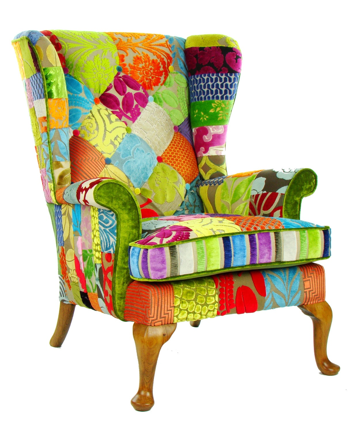 Patchwork parker knoll armchair designers guild fabric - Fauteuil crapaud patchwork ...
