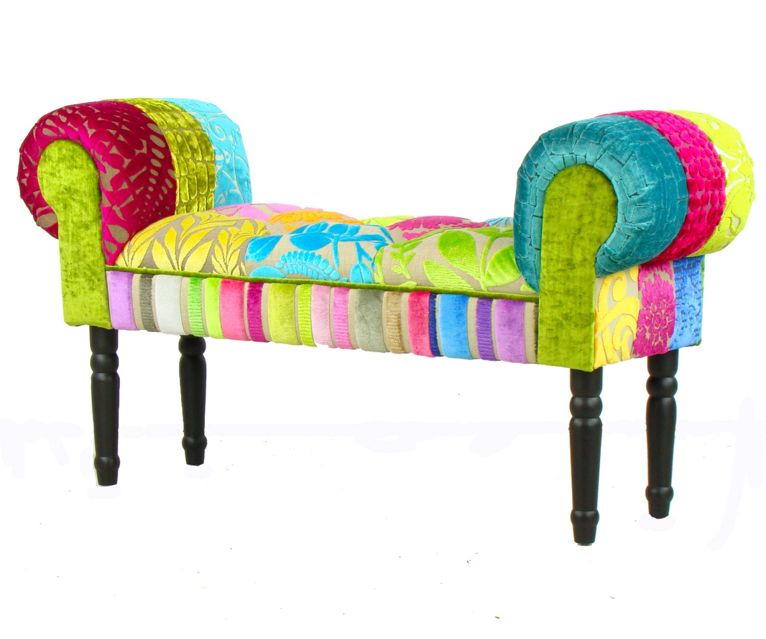 Bespoke patchwork chaise longue stool window seat designers for Chaise patchwork