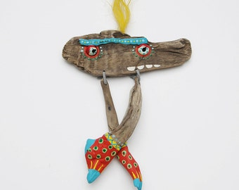 mural  driftwood art monster upcycling ONIDA handmade by JEVO