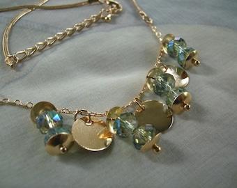 Swarovski crystal necklace pendant gold filled chain