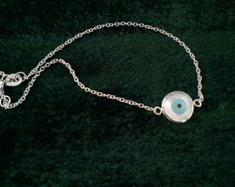 Evil eye bracelet in white,yellow or rose gold  solid K14 with mother of pearl round eye