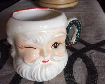 Vintage Santa Cup Winking Santa