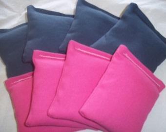 8 ACA Regulation Cornhole Bags - 4 Fuchsia and 4 Navy Blue