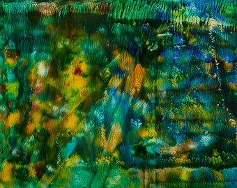 Rays of Light -- Abstract Acrylic & Ink Mixed Media on Tile 18x24 in. Framed