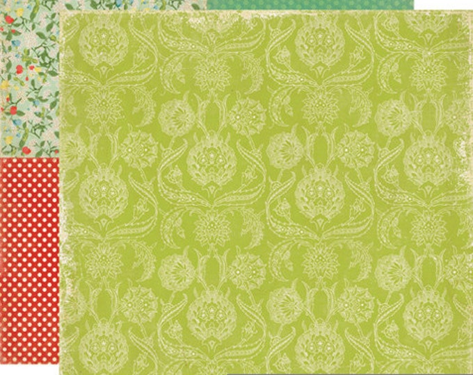2 Sheets of Echo Park Paper FOR THE RECORD 12x12 Scrapbook Paper - Vintage Linen