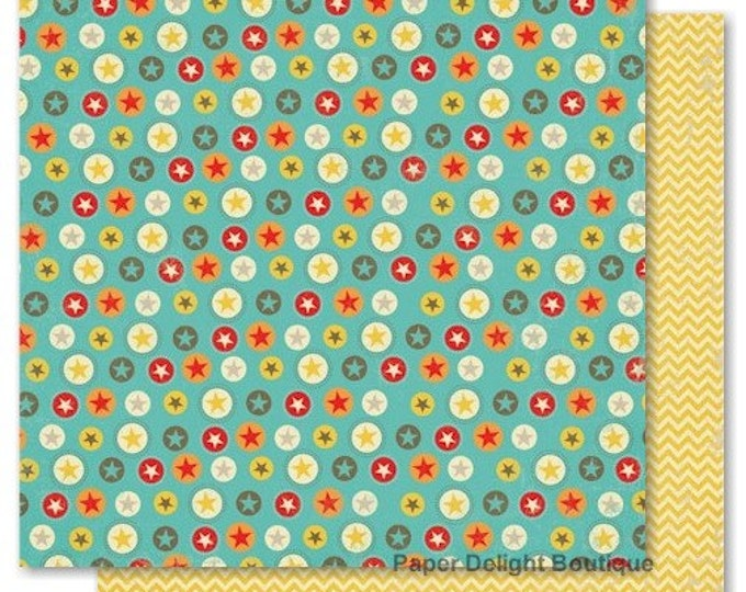 2 Sheets of My Mind's Eye BOY CRAZY 12x12 Scrapbook Paper - Seeing Stars