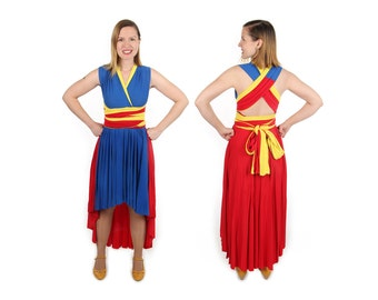 Caped Superhero inspired Convertible Dress