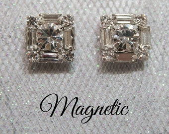 Magnetic clip earrings, silver plated square baguette rhinestone