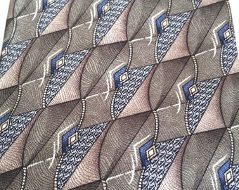 Haggar Collections Brown Abstract Necktie Brown Tie Made in USA Silk, Free US Shipping