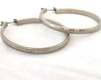 Large Etched Floral Silver Hoop Earrings, Lightweight Silver Tone Hoops, Silver Tone Classic Hoop Earrings