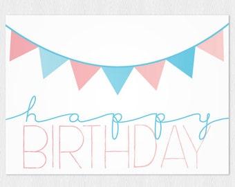 Banner happy birthday card PDF DIY - Printable Greeting Card 6x4 inch -  Happy Birthday