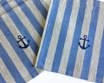 Placemats/ 6 natural linen placemsts / rustic linen placemats / nautical design