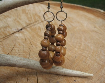 Wood Earrings. Boho. Gypsy. Rustic. Native. hoop earrings. handmade. jewelry. dangle earrings.women.oval beads.