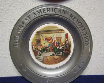 The Great American Revolution 1776  ; Pewter & Porcelain  plate ; Declaration of Independence  by John Trumbull