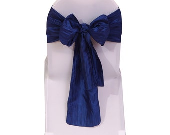 Navy Blue Crinkle Taffeta Chair Sashes (Pack of 10) | Wedding Chair Sashes