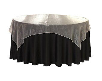 90 inch Square Organza Table Overlay Ivory | Wedding Table Overlays