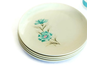 "CLEARANCE SALE Luncheon Plates, Set of 4 Salad Dessert, Ever Yours Boutonniere, 6.75"" Taylor Smith & Taylor, Pink Aqua Carnation Motif"