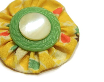 SALE Vintage Bright Cheery Lemon Mint Yo Yo Hair Clip