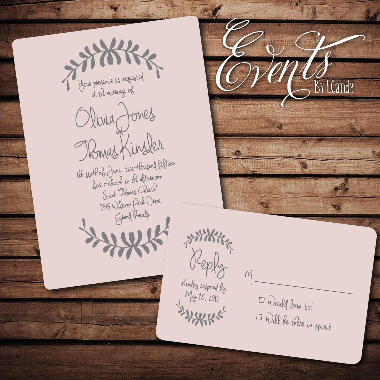 WEDDING INVITATION SAMPLE Hand Drawn Laurel