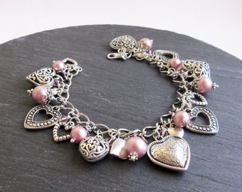 Pink pearl and crystal heart charm bracelet, pink charm bracelet, heart bracelet, Swarovski Elements pearl bracelet, Mothers Day gift