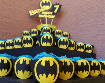 Batman Cupcake Wrappers 12 count Batman birthday party decorations