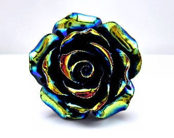 Black Rainbow Rose Ring; Adjustable Silver Ring; Black Resin Rose Ring; Goth Ring; Rainbow Ring; Handmade AB Rose Ring; Black Rose Jewelry