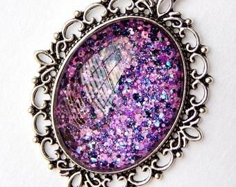 Purple Glass Pendant; Handmade Glitter Nail Polish Jewelry; Black and Purple Necklace; Glass Oval Pendant; Hand Painted Glass Jewelry