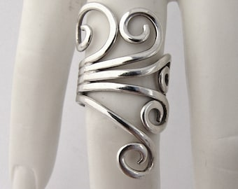 Long Ornate Scroll Ring Sterling Silver Open Work Designs